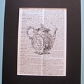 Teapot Art Print Vintage Dictionary Page Book Upcycled Repurposed Words Tea