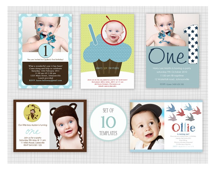 PSD Boys Birthday Party Invitation Templates Mini Pack - Birthday invitation photoshop template