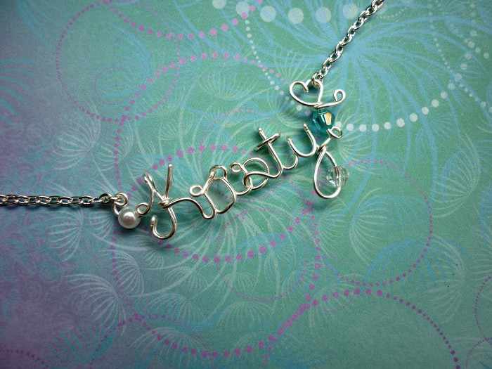 Handmade Personalised Wire Name/Word Necklace Non-Tarnish Silver ...