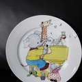 Child's present - Hand painted, Animal plate