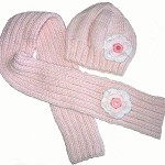 Girls Pink Winter Wool BEANIE Hat & SCARF Set- Flower, Buttons SIZE 4 5 6 7 8