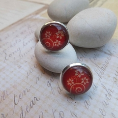 Red Flower Print Studs