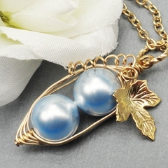 Two Peas In A Pod Gold Pendant Necklace Blue Swarovski Pearls.