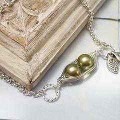 Sweet 2 Peas In A Pod Silver Bracelet 2,3 Or 4 Swarovski Pearls