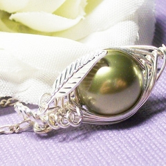 Sweet Pea In A Pod Necklace - Sterling Silver Swarovski Pearls.