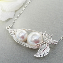 Mother And Child Sterling Silver Horizontal Peapod Necklace - Choose Your Color