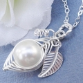 Sweet Pea In A Pod Necklace Sterling Silver Swarovski Pearls Choose Your Color