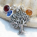 Personalized Family Birthstone Tree Of Life Sterling Silver Custom Necklace
