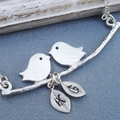 My Little Family - Lovebirds on a Branch with Handstamped Personalized Leaves
