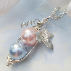 Two Peas in a Pod Pink and Blue Silver with Vine and Leaf