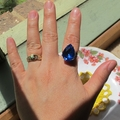 Sapphire Blue Cocktail Ring Jewellery Estate Style Vintage Glass Teardrop Pear