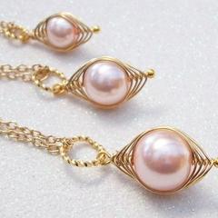Mum Big Sister Little Sister Individual Pea Pod Pendants - Pink Pearls in Gold