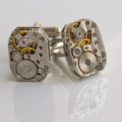 Cufflinks - steampunk/ watch movement - squatties -perfectly matched