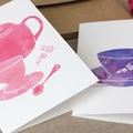 Pink Vintage Tea Set Greeting Card - Kitchen tea watercolour thank you card