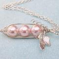 Three Peas In A Pod Silver Pendant Necklace - Swarovski Pearls