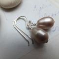 Swarovski & Sterling Silver Powder Almond Pearl Earrings