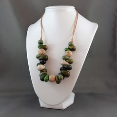Green and Gold Polymer Clay Necklace