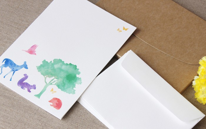 forest friends letter writing set 10 pack whimsical watercolour print