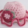 Crocheted Tea Party Hat 6-12 months - 2-4 years