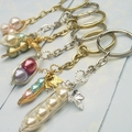 Peas in a Pod Keychain - Choose your Style, Pearl Color and Metal Colour