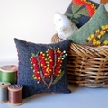 Square Embroidered Pin Cushion with Australian Native Flower Bottlebrush
