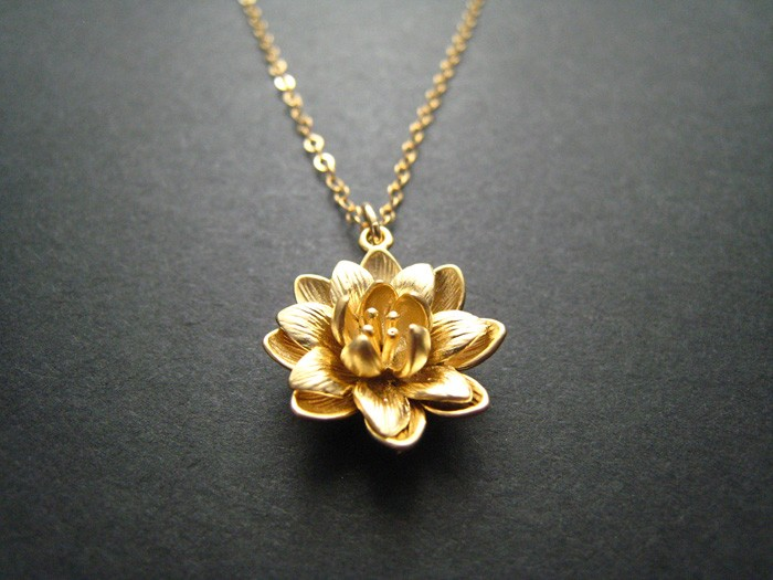 Lotus necklace gold flower 14k gold fill chain oh deer madeit lotus necklace gold flower 14k gold fill chain mozeypictures Choice Image