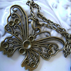 BUTTERFLY necklace bronze tone necklaces bronze tone chain 50cm