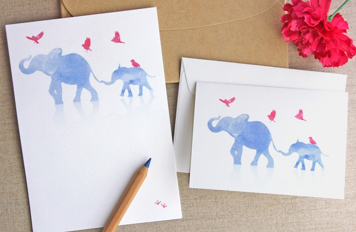 big and small elephant letter writing set 10 pack watercolour wash