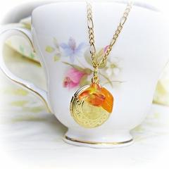 Jane Austen Locket Necklace Mr Darcy. Orange Flower Leaf Yellow