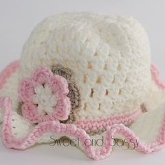 Crocheted Tea Party Hat 3-6 months - 2-4 years