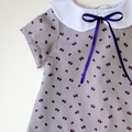 Purple Grey Butterfly Print Dress with Collar. Sizes 2 ~ 5.