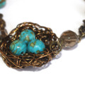 Blue Mosaic Turquoise and Bronze Robins Nest bracelet