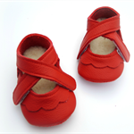 Handmade leather soft soled baby shoes with lambswool lining