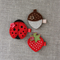 Value pack of 3 hair clips, acorn, ladybug and strawberry, red, free postage
