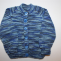 Baby Boys Variegated Blue Cardigan to fit 6 to 12 months.