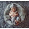 Bonnet and Pants0-3mo Photo Prop Blue/Grey