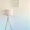 Large grey + white chevron print fabric lampshade, table/floor/ceiling shade