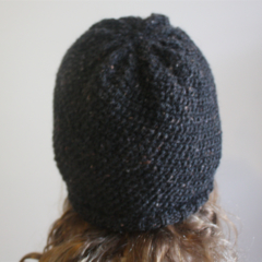 Charcoal - Black Flecked Reversible Winter Beanie Hat