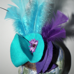 Ocean Mirage SALE blue purple felt  fascinator head piece autumn winter