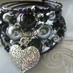 memory wire bracelet  wrap around your wrist  black bracelets