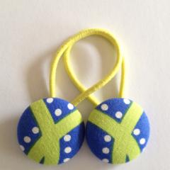 Blue green fabric button hairties