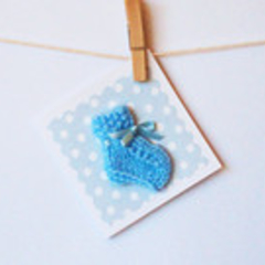 Handmade Baby Card- Knitted Bootie Blue
