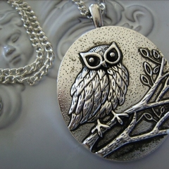 large owl pendant necklace, silvertone other necklaces available