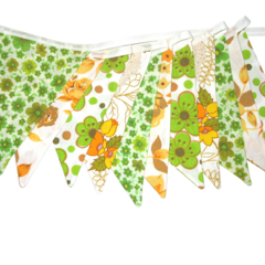 Vintage Bunting - Yellow & Eco - Green & Lace Floral Flags. Retro Decoration