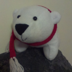 Pauly the Polar bear with knitted scarf