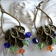1 x peacock chandelier earrings bronze orange blue and green crystal earring