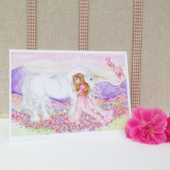 Unicorn and princess blank greeting card, girls birthday card 5x7 folded card