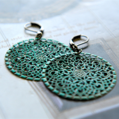 Turquoise Filigree Earrings, Dangle Earrings, Hand Painted Earrings