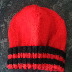 Red and black children's beanie