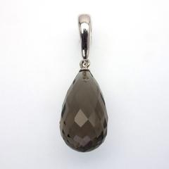 Smoky Quartz drop sterling silver enhancer pendant